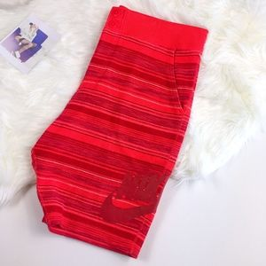 NIKE F.C. Mens Red Pink Striped Drawstring Shorts